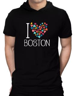 I love Boston colorful hearts Hooded T-Shirt - Mens