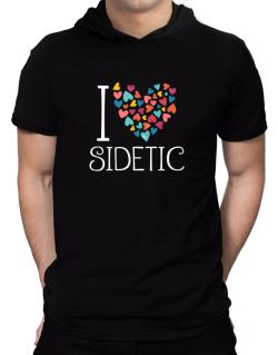 I love Sidetic colorful hearts Hooded T-Shirt - Mens