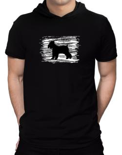 Schnauzer flag scratched Hooded T-Shirt - Mens