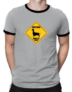 """ Dogs at play Dachshund ""  Ringer T-Shirt"