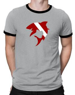 Diver down Shark Scuba Diving Ringer T-Shirt
