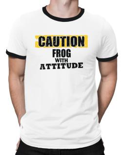 Caution - Frog With Attitude Ringer T-Shirt
