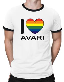 I Love Avari - Rainbow Heart Ringer T-Shirt
