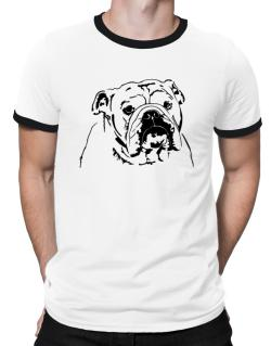 American Bulldog Face Special Graphic Ringer T-Shirt