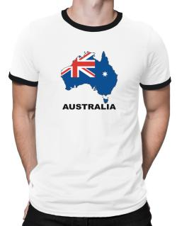 Australia - Country Map Color Ringer T-Shirt