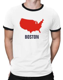 Boston - Usa Map Ringer T-Shirt