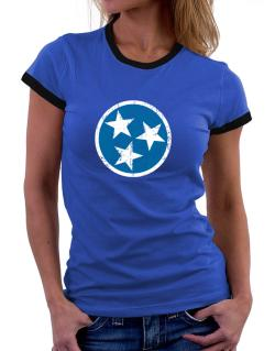Tennessee Flag Women Ringer T-Shirt