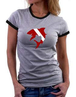 Diver down Shark Scuba Diving Women Ringer T-Shirt