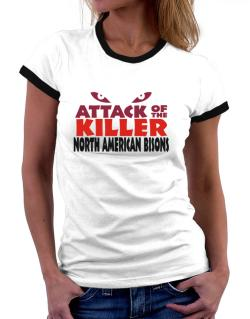 Attack Of The Killer North American Bisons Women Ringer T-Shirt