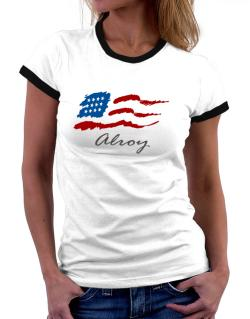 Alroy - Us Flag Women Ringer T-Shirt