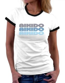 Aikido Retro Color Women Ringer T-Shirt