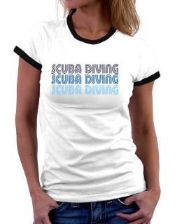 Scuba Diving Retro Color Women Ringer T-Shirt