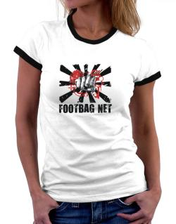 Footbag Net Fist Women Ringer T-Shirt