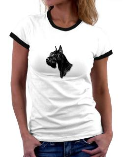 """ Schnauzer FACE SPECIAL GRAPHIC "" Women Ringer T-Shirt"