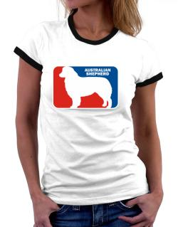 Australian Shepherd Sports Logo Women Ringer T-Shirt