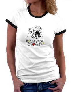 American Bulldog True Love Women Ringer T-Shirt