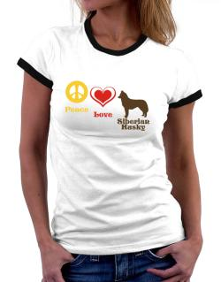 Peace, Love, Siberian Husky Women Ringer T-Shirt