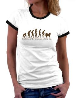 Evolution Of The American Eskimo Dog Women Ringer T-Shirt