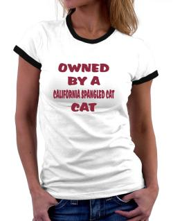 Owned By S California Spangled Cat Women Ringer T-Shirt