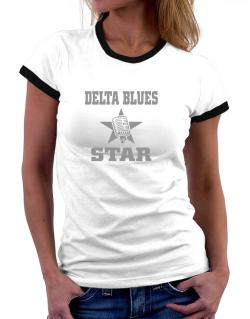 Delta Blues Star - Microphone Women Ringer T-Shirt