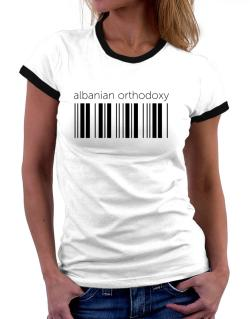 Albanian Orthodoxy barcode Women Ringer T-Shirt