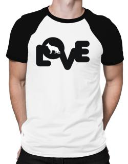 Love Silhouette German Shepherd Raglan T-Shirt