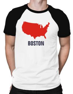 Boston - Usa Map Raglan T-Shirt