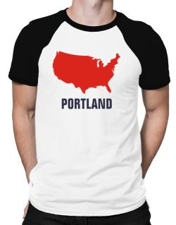 Portland - Usa Map Raglan T-Shirt