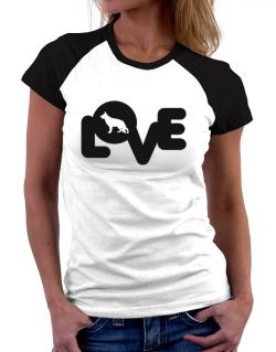 Love Silhouette German Shepherd Women Raglan T-Shirt