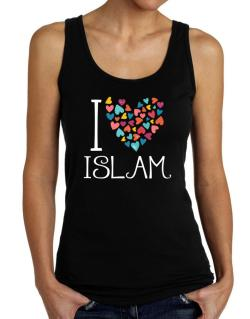 I love Islam colorful hearts Tank Top Women