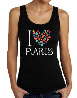 I love Paris colorful hearts Tank Top Women