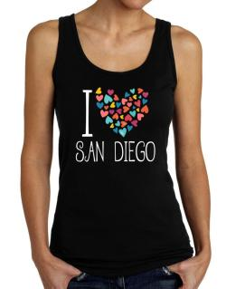 I love San Diego colorful hearts Tank Top Women