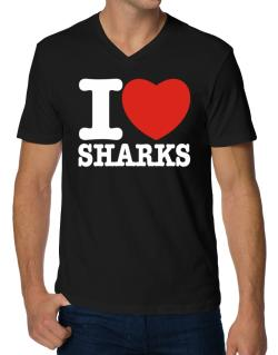 I Love Sharks V-Neck T-Shirt