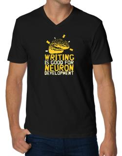 Writing Is Good For Neuron Development V-Neck T-Shirt