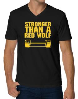 Stronger Than A Red Wolf V-Neck T-Shirt