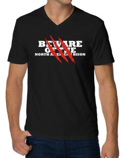 Beware Of The North American Bison V-Neck T-Shirt