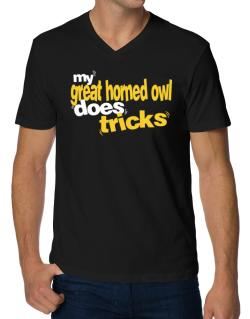 My Great Horned Owl Does Tricks V-Neck T-Shirt