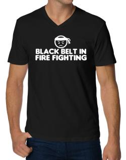 Black Belt In Fire Fighting V-Neck T-Shirt
