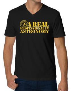 A Real Professional In Astronomy V-Neck T-Shirt