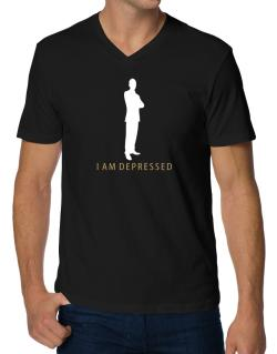 I Am Depressed - Male V-Neck T-Shirt