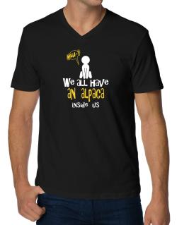 We All Have An Alpaca Inside Us V-Neck T-Shirt