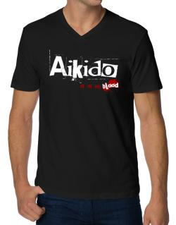 Aikido Is In My Blood V-Neck T-Shirt