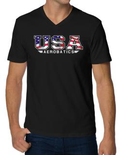 Usa Aerobatics / Flag Clip - Army V-Neck T-Shirt