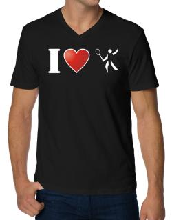 I Love Badminton - Silhouette V-Neck T-Shirt