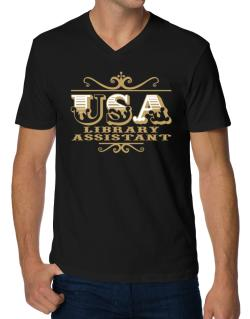 Usa Library Assistant V-Neck T-Shirt