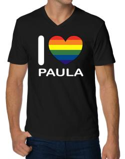 I Love Paula - Rainbow Heart V-Neck T-Shirt