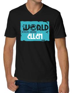 The World Revolves Around Ellen V-Neck T-Shirt