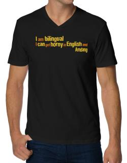 I Am Bilingual, I Can Get Horny In English And Amdang V-Neck T-Shirt
