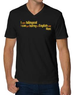 I Am Bilingual, I Can Get Horny In English And Mehri V-Neck T-Shirt