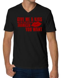 Give Me A Kiss And I Will Teach You All The Saramaccan You Want V-Neck T-Shirt